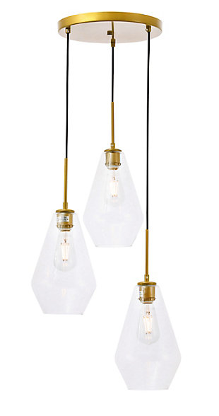 Living District Gene 3 Light Brass And Clear Glass Pendant, Brass/Clear, large