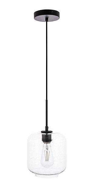 Living District Collier 1 Light Black And Clear Glass Pendant, Black/Clear, large