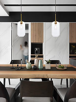 Living District Collier 1 Light Brass And Clear Glass Pendant, Brass/Clear, rollover