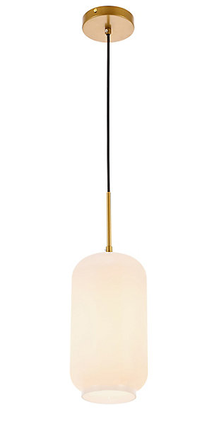 Living District Collier 1 Light Brass And Frosted White Glass Pendant, Brass/Frosted White, large