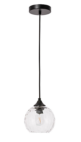 Living District Cashel 1 Light Black And Clear Glass Pendant, Black/Clear, large