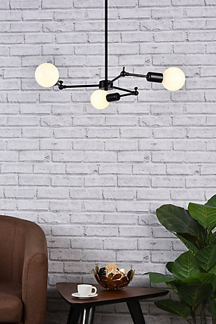 Living District Furlong 3 Lights Black Pendant, Black, rollover