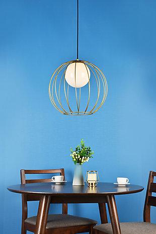 Living District Wetzel 1 Light Brass Pendant, Brass/White, rollover