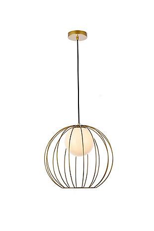 Living District Wetzel 1 Light Brass Pendant, Brass/White, large
