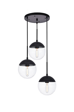Living District Eclipse 3 Lights Black Pendant With Clear Glass, Black/Clear, large