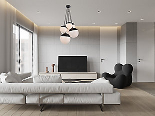 Living District Eclipse 6 Lights Black Pendant With Frosted White Glass, Black/Frosted White, rollover