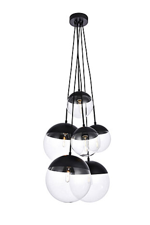 Living District Eclipse 6 Lights Black Pendant With Clear Glass, Black/Clear, large