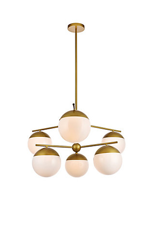 Living District Eclipse 6 Lights Brass Pendant With Frosted White Glass, Brass/Frosted White, large