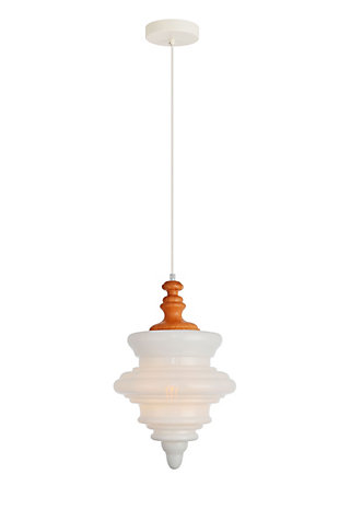 Living District Topper Collection Pendant D10.6 H16.6 Lt:1 Copper And Frosted White Finish, , large