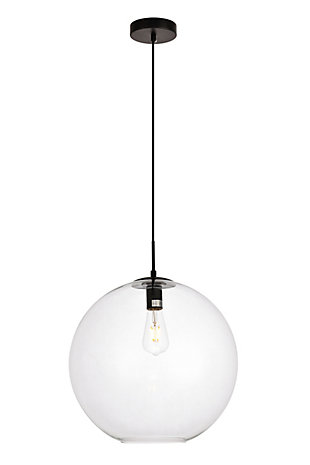 Living District Placido Collection Pendant D15.7 H16.5 Lt:1 Black And Clear Finish, , large