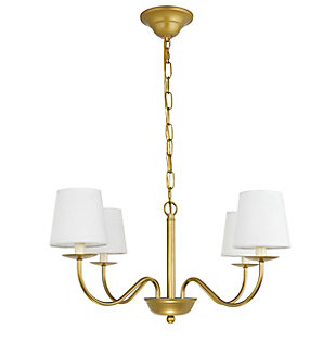 Living District Eclipse 4 Light Brass And White Shade Chandelier, Brass/White, large
