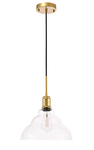 Living District Gil 1 Light Brass And Clear Seeded Glass Pendant, Brass/Clear, large