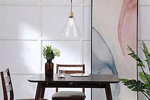Living District Hugh 1 Light Brass And Clear Glass Pendant, Brass/Clear, rollover