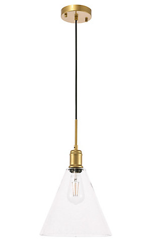 Living District Hugh 1 Light Brass And Clear Glass Pendant, Brass/Clear, large