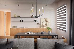 Living District Enzo 4 Light Black And Brass Pendant, Black/Brass, rollover