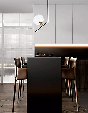 Living District Ryland 1 Light Black And Brass And Clear Glass Pendant, Black/Brass/Clear, rollover
