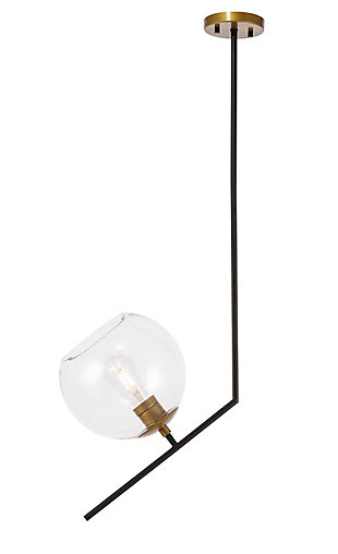 Living District Ryland 1 Light Black And Brass And Clear Glass Pendant, Black/Brass/Clear, large