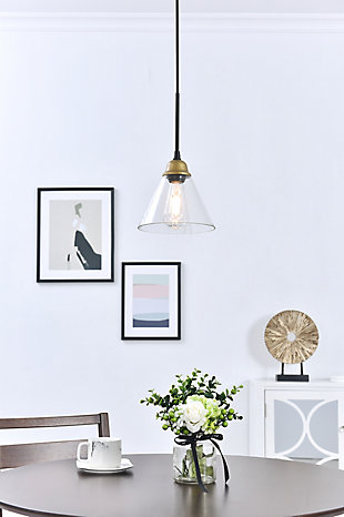 Living District Histoire 1 Light Brass And Black Pendant, , rollover