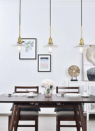Living District Waltz 3 Light Brass Pendant, Brass/Clear, rollover