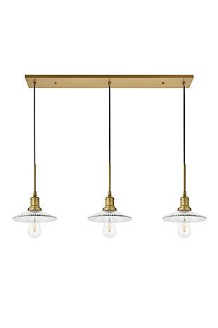 Living District Waltz 3 Light Brass Pendant, Brass/Clear, large