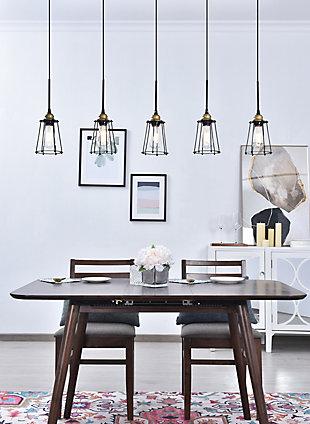 Living District Auspice 5 Light Brass And Black Pendant, , rollover