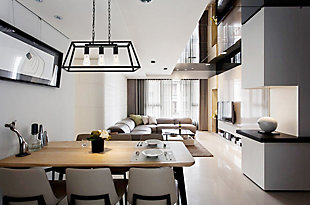 Living District Resolute 3 Light Black Pendant, Black, rollover