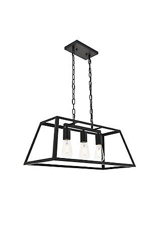 Living District Resolute 3 Light Black Pendant, Black, large