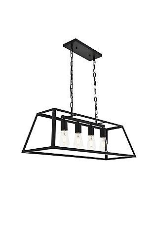 Living District Resolute 4 Light Black Pendant, Black, large