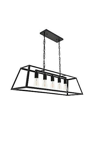 Living District Resolute 5 Light Black Pendant, Black, large