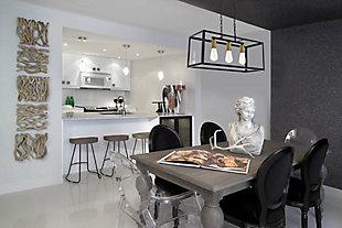 Living District Resolute 3 Light Brass And Black Pendant, Brass/Black, rollover