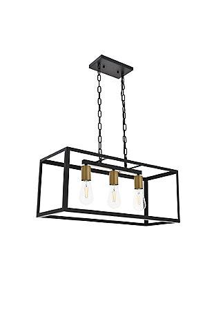 Living District Resolute 3 Light Brass And Black Pendant, Brass/Black, large