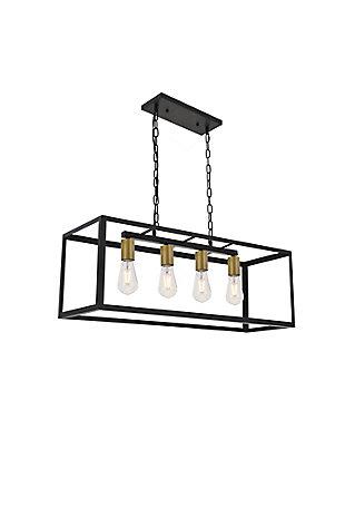 Living District Resolute 4 Light Brass And Black Pendant, Brass/Black, large