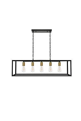 Living District Resolute 5 Light Brass And Black Pendant, Brass/Black, large