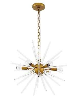 Living District Horizon 6 Light Brass Pendant, Brass/Clear, large