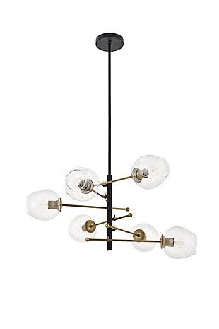 Living District Paragon 6 Light Matte Black And Brass Pendant, , large