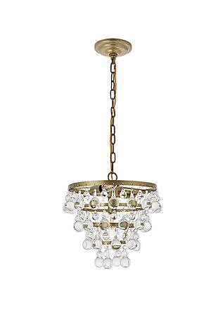 Living District Kora 3 Light Brass Pendant, Brass/Clear, large
