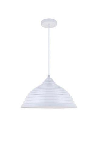 Living District Circa 1 Light White Pendant, White, large