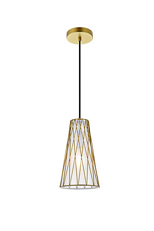 Living District Modesta 1 Light Brass Pendant, Brass, large