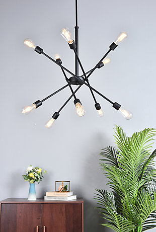 Living District Axel 10 Lights Black Pendant With Hanging Rod, , rollover