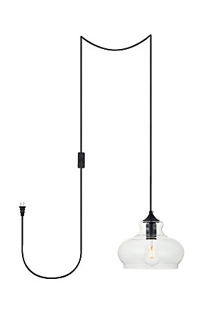 Living District Destry 1 Light Black Plug-In Pendant With Clear Glass, Black, large