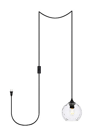 Living District Cashel 1 Light Black And Clear Glass Plug-In Pendant, Black, large