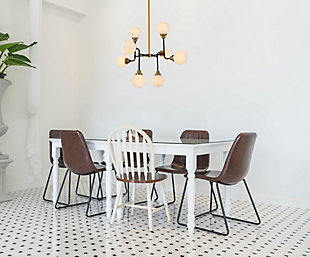 Living District Hanson 8 Lights Pendant In Black With Brass With Frosted Shade, Black, rollover