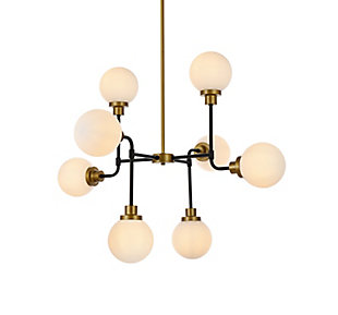 Living District Hanson 8 Lights Pendant In Black With Brass With Frosted Shade, Black, large