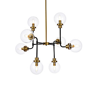 Living District Hanson 8 Lights Pendant In Black With Brass With Clear Shade, Black/Brass/Clear, large