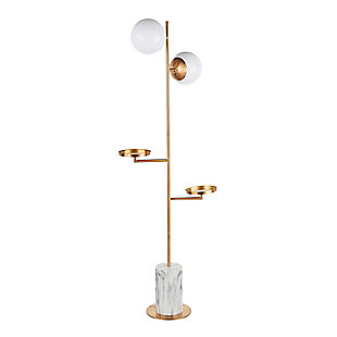 LumiSource Butler Contemporary/Glam Floor Lamp in Gold Metal with White Marble Base, , large