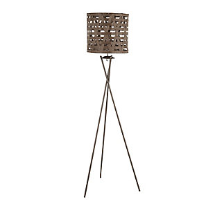 LumiSource Corbin Contemporary Floor Lamp in Brown Metal with Brown Shade, , large