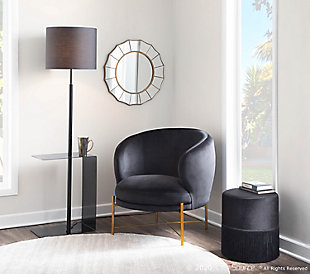 LumiSource Gamma Contemporary Floor Lamp in Black Metal and Black Linen Shade with Black Metal Side Table, , rollover
