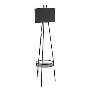 LumiSource Trident Contemporary Floor Lamp in Black Metal with Black Linen Shade and Black Metal Shelf, , large