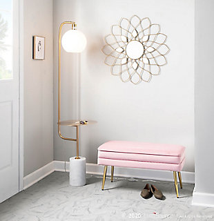 LumiSource Symbol Contemporary/Glam Floor Lamp with Gold Metal Side Table and White Marble Base, , rollover