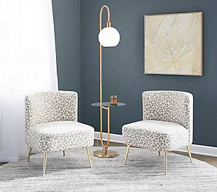 LumiSource Trombone Contemporary/Glam Floor Lamp in Gold Metal with Clear Glass Shelf, , rollover